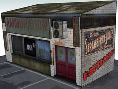 GTA V - Ammu-Nation Gun Shop Paper Model - by Papermau - Some Advances - == - I am playing with some textures in this model, using MsPaint. As the textures of the bricks from the game were very dark, I just delete everything and using lighter textures, I could give more life to the model.