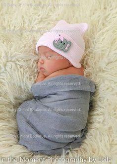 Newborn Hat - Grey and Light Pink with Felt Elephant (newborn hospital hat, baby girl hat, newborn beanie, elephant hat) READY TO SHIP on Etsy, $18.50: