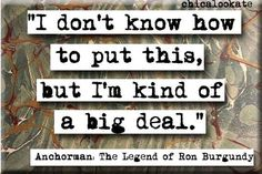 Anchorman: The Legend of Ron Burgundy (2004) ~ Movie Quote Poster by Chicaloo Kate #amusementphile