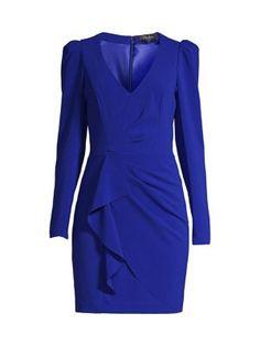 Parker Black Clinton Ruffle Dress In Cobalt Ruffle Dress, Peplum Dress, Parker Black, Dress Outfits, Maxi Dresses, Saks Fifth Avenue, World Of Fashion, Luxury Branding, Dresses For Work