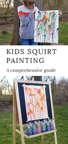 Everything you need to know about squirt painting; a fun, vibrant, and exciting art project for creative kids, teens, and adults. #squirtpainting #squirtgunpainting #squirtgunart #squirtbottlepainting #summercrafts #easykidscrafts #kidsartprojects #kidsart via @https://www.pinterest.com/fireflymudpie/