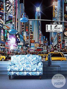 Amazing effect :)  #wallmural #wallpaper #gif #NYC #NewYork #citylights #interiordesign
