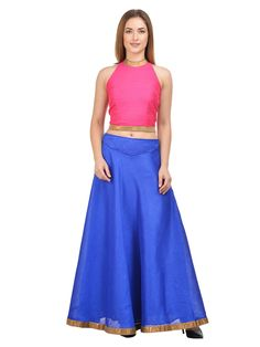 Royal Blue in colour, this maxi Lehenga With Royal Blue Choli by Castle is a real visual delight. The Gotta Patti Border and Solid pattern further add to its aesthetic appeal. Showcasing Border and pleat detailing for added attraction, it is also extremely skin friendly, courtesy the fine cotton fabric. Team it with a Royal Blue top and ankle-strap sandals.
