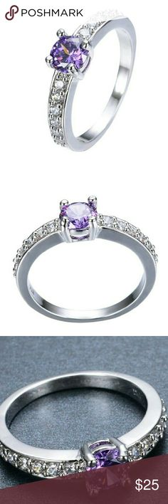 Brand new! 10k WGF Amethyst Ring Sz 9 Brand new! 10k white gold filled. Fitted sz 9. Purple Amethyst. Clear czs. Jewelry Rings