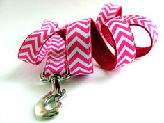 This flashy chevron dog leash matches the pink chevron collar I have listed. You can select this listing to match any of my chevron dog collars. This