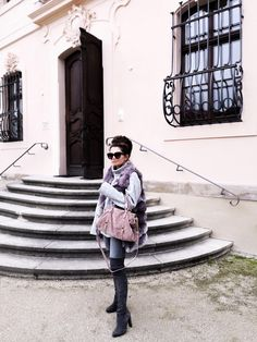 Grey sweater+grey skinny jeans+dark grey over the knee boots+purple fur vest+pink shoulder bag+sunglasses+earrings. Fall Casual Outfit 2017