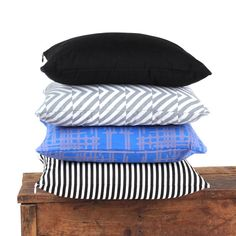 Set of 4 Cushion Covers 16 x 16 inches - Black ,Black/White, Grey, Blue - Decorative Throw Pillows - Designer Fabric