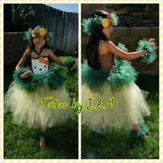Hawaiian luau dancer Hello Kitty tutu ... made with headpiece wrist pieces and ankle pieces