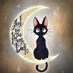 This is Jiji, the cat from Kiki's Delivery Service! I love this film! I love you to the moon & back by Tim Shumate <- His artwork is awesome! Tim Shumate, Animal Art, Sketches, Illustration, Art Drawings, Drawings, Cat Art, Art, Cat Drawing