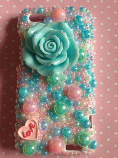 HTC One V Aqua Decoden Phone Case Mermaid Case, KAWAII, Blue Handmade diy uk SELLER