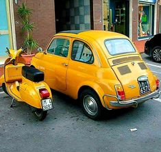The Great Charm of Vintage Cars - Popular Vintage Fiat Cinquecento, Fiat Abarth, Piaggio Vespa, Vespa Scooters, Fiat Cars, Sweet Cars, Cute Cars, Cool Bicycles, Small Cars