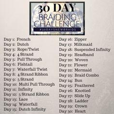 30 Day Braiding Challenge list of braids