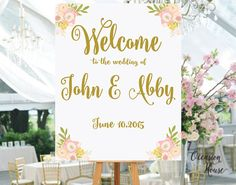 Welcome Wedding Sign,Printable, Wedding Welcome Sign, Welcome Sign, Gold lettered wedding sign, wedding sign, Reception Sign, Blush and Gold by OccasionHouse on Etsy