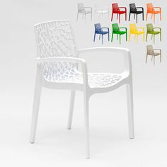 Polypropylene Design Chair with Armrests for Kitchens Bar Cafè GRUVYER ARM | White - S6626B