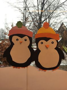 Cute penguins for your winter window decoration or paper craft.
