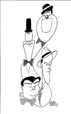 'classic comedians stan laurel & oliver hardy and bud abbott & lou costello' by al hirschfeld Stan Laurel Oliver Hardy, Laurel And Hardy, Caricature Artist, Caricature Drawing, Abbott And Costello, Ligne Claire, Celebrity Caricatures, Pop Art, Black And White Portraits