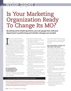 Is Your Marketing Organization Reacy to Change Its MO? by Marketing Operations Partners via Slideshare What Is Marketing, Bait And Switch, Social Media Tips, Things To Think About, Digital Marketing, How To Become, Community, Change, Organization