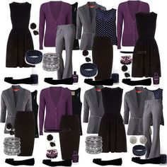 Teacher Outfits on a Teacher's Budget: Mix and Match-- Good Idea to find bas. Teacher Outfits on a Teacher's Budget: Mix and Match-- Good Idea to find basics like this. Mode Outfits, Fashion Outfits, Womens Fashion, Office Outfits, Fashion Ideas, Purple Outfits, Black Outfits, Travel Outfits, Winter Outfits