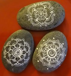 Mandala Hand Painted Stone 2 1/2 inches and 3 inches