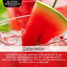 If you have dry skin, then the watermelon is the fruit right for you. Melon naturally hydrates your face. Your skin, which helps to get rid of dry skin. #ClinicDermatech #LivePowerfully #10GloriousYears #Beauty #Wellness