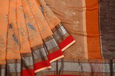 Handwoven Light Orange Maheshwari Silk Saree With Multiple Broad Zigzag Striped Zari Border