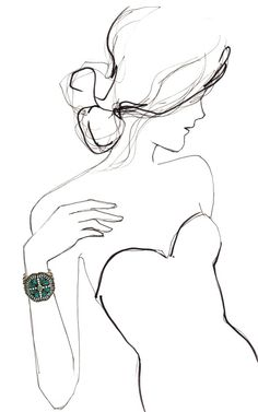 Fashion Illustration Patterns Eddie Borgo Serpent Wrap Bracelet - but it's the illustration i love - Line Drawing, Drawing Sketches, Art Drawings, Figure Drawing, Sketching, Ball Drawing, Jewellery Sketches, Jewelry Sketch, Fashion Sketches