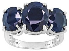 Meet your new favorite Pre-Owned Blue Sapphire Sterling Silver 3 Stone Ring JTV offers exceptional quality and value with this piece. Blue Topaz Ring, Sapphire Gemstone, Blue Sapphire, Gemstone Engagement Rings, Three Stone Rings, Affordable Jewelry, White Gold Rings, Sterling Silver Rings, Jewelry Collection