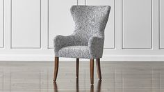 Galloway Paisley Wingback Dining Chair | Crate and Barrel