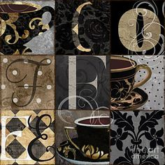 Damask Painting - Cafe Noir Patchwork by Mindy Sommers