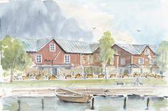 Målad tavla av magasinen i gästhamnen i Hangö Art, Painting