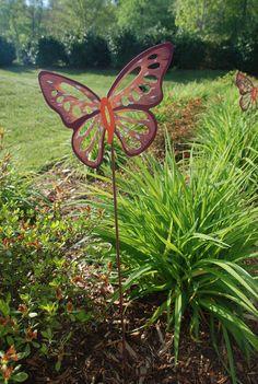 Summer Butterfly Garden Stakes Set (2)  - Hand-painted - Garden Decor - USA. $14.00, via Etsy.