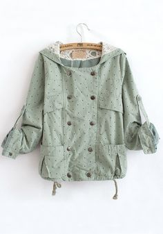 ++ Green Polka Dot Print Buttons Cotton Blend Trench Coat