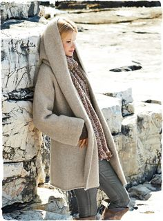Kotzebue Blanket Coat | A sumptuous embrace of plush, felted #alpaca and nylon, this minimalist #coat design is the perfect snuggle-up layer for wintry days. #Knit easy and oversized, with a generous hood.