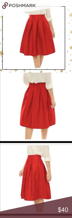 High- waist A-line Red Skirt (GY23R18) Beautiful high waist skirt. Must have for coming holidays ! Its fun, festive , comfortable and very, very cute! No pockets,side zipper. Offers welcome, no trade Skirts A-Line or Full