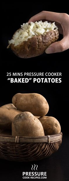 Make these quick & easy Pressure Cooker Potatoes in 25 minutes! Shortcut to make Oven Baked Potatoes with a slight crisp skin. Cuts cooking time in half!