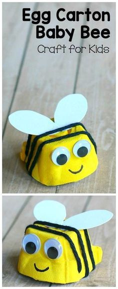 Egg Carton Baby Bee Craft for Kids: Turn an empty egg carton into a cute bumblebee. Easy art activity for preschool or kindergarten! (Great for insect or bug units and perfect for spring, summer, or Earth Day!) ~ http://BuggyandBuddy.com