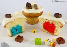 """""""Double LEGO® Cupcakes"""" -- Recipes and instructions for all four components (chocolate Legos, Lego cake insert, vanilla cupcake & icing) at the click-through."""