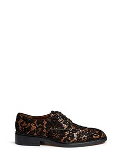 Givenchy Floral Lace Overlay Leather Derbies in Black