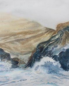 Watercolour of waves crashing on rocks, sea mist, Kynance Cove, original seascape, cliffs and sea, Cornwall coast, sea spray, ocean art by PenstoneArt on Etsy