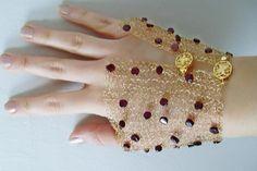 garnet cuff bracelet wire knitted glove bracelet wire crochet jewelry garnet jewelry one of a kind jewelry gemstone jewelry Lavish on Etsy on Etsy, $70.50