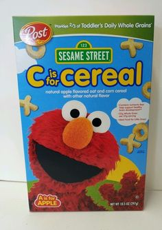 Toddler cereal. C is for Cereal.  A is for Apple flavor! Sesame Street Elmo fun!