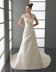 A-line strapless chapel train pretty taffeta with lace wedding dress