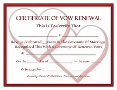 Everlasting Promises Vow Renewal Certificate - Free Printable