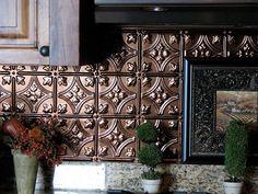 stylish kitchen backsplash with pressed tin Adding Pressed Tin Into Your Home Decor