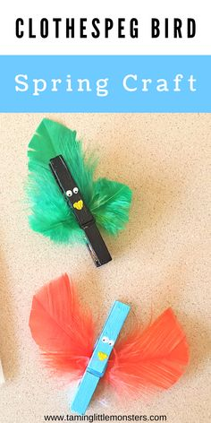 These clothespeg birds are a fun and easy Spring craft for kids. Use them in the garden to go bird spotting with this Free Printable birds spotting book. #spring #artsandcrafts #preschool #freeprintable Bird Crafts Preschool, Easter Arts And Crafts, Preschool Art Projects, Spring Crafts For Kids, Arts And Crafts Projects, Toddler Crafts, Projects For Kids, Preschool Activities, Kids Crafts
