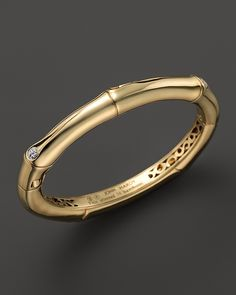 John Hardy Diamond & 18K Yellow Gold Bamboo Hinged Bangle, .06 ct. t.w. on shopstyle.com
