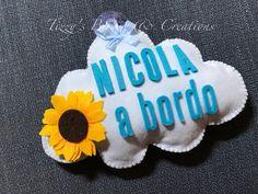 "Bimbo a Bordo ""Nuvoletta"" #babyonboard #ribbon #felt #handmade #itsaboy"