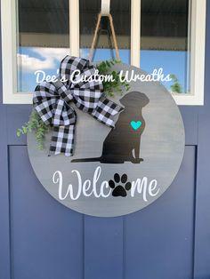 Wooden Door Signs, Wooden Welcome Signs, Front Door Signs, Wooden Door Hangers, Wooden Doors, Canvas Door Hanger, Porch Signs, Dog Crafts, Vinyl Crafts