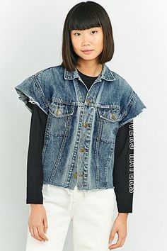 2baa5227ca79e Urban Renewal Vintage Customised Sleeveless 80s Jean Jacket Urban  Outfitters