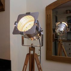 Floor Lamp - Theatre Spot Light On Wooden Tripod - Short Polished